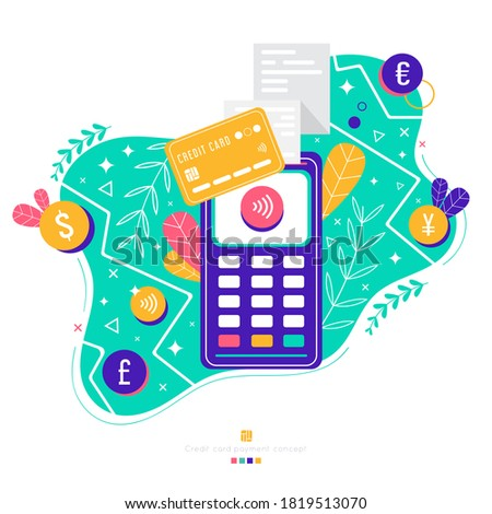 POS terminal with wireless credit or debit card. Payment terminal with checkmark and receipt. Contactless payment. Trendy colors,bright floral illustration. Dollar Euro Yen Pound coins.