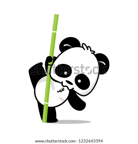 Pose illustration of cute little panda