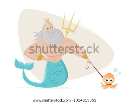 Poseidon walks an octopus, clipart.