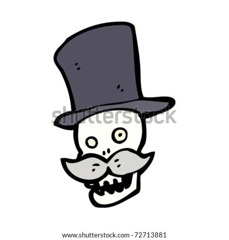 posh skull in top hat cartoon