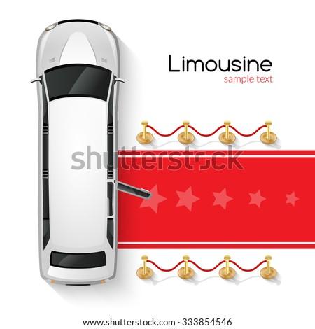 posh white limousine top view