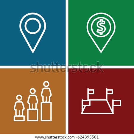 Position icons set. set of 4 position outline icons such as ranking, location pin, dollar location