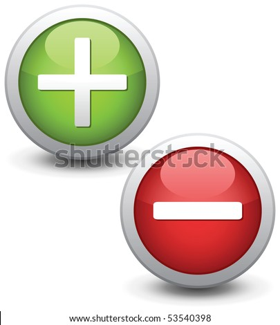 Positive and negative buttons. Vector illustration.