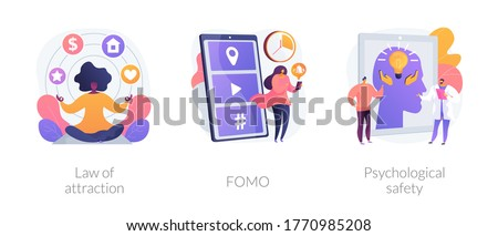 Positive and negative emotions abstract concept vector illustration set. Law of attraction, FOMO, psychological safety, social anxiety, well-being, personal comfort, visualization abstract metaphor. Foto stock ©
