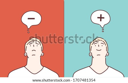 Positive and Negative thinking. Hand drawn style vector design illustrations.