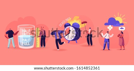 Positive and Negative Thinking Pessimist and Optimist People Concept. Men Stand at Huge Half Full or Empty Glass with Water Women Discuss Bad or Good Weather, Deadline. Flat Vector Illustration