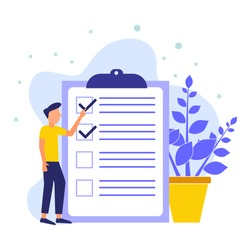 Positive business people standing nearby are marked with a checklist on clipboard paper. Successfully complete business assignments. Flat vector illustration.