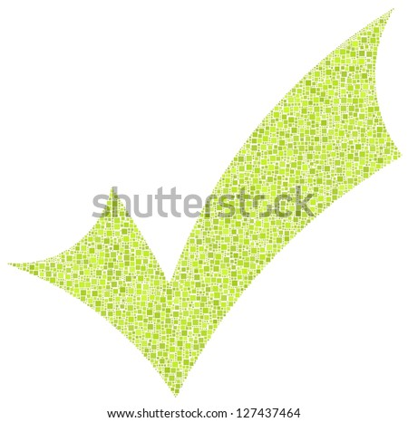 Positive checkmark in a mosaic of green squares. White background