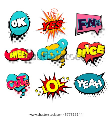 Positive collection set lettering comic text. Comic text sound effects. Bubble icon speech phrase. Cartoon exclusive font label tag expression. Sounds vector illustration. Comics book balloon.