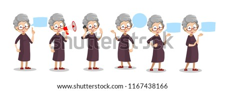 Positive elderly woman standing with blank speech bubble. Senior woman holding megaphone and pointing on speech bubble. Funny granny character in cartoon style. Old people vector illustration