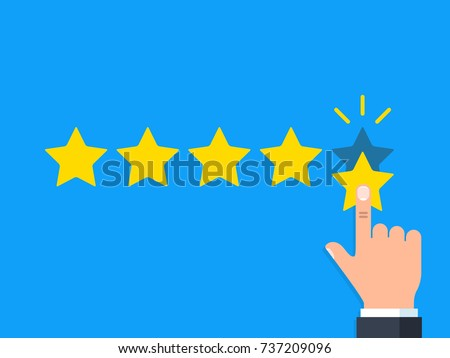 Positive feedback concept. Business hand give five star rating. Minimal flat vector illustration
