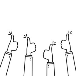 positive feedback with linear thumbs up. flat simple lineart trend modern stroke graphic thumbsup arm design element isolated on white. concept of do okey or super motivation and trust or community