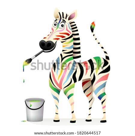 Positive happy colorful zebra paiting with paints and brush. Psychology treatment concept animal mascot. Funny humorous smiling multi color Zebra design. Vector 3d cartoom for kids. Stockfoto ©
