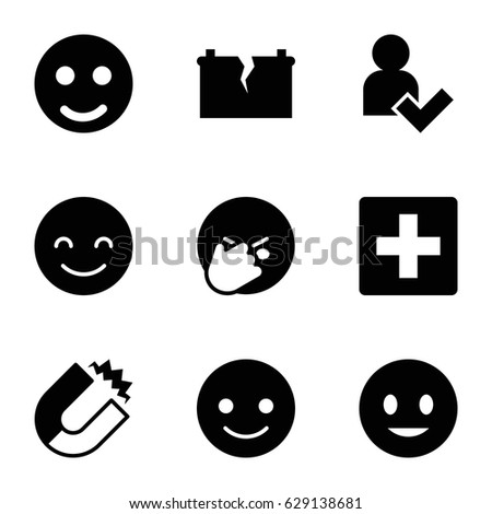 positive icons set set of 9