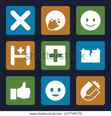 Positive icons set. set of 9 positive filled icons such as smiling emot, facepalm emot, hospital, cross, broken battery, thumbs up, magnet