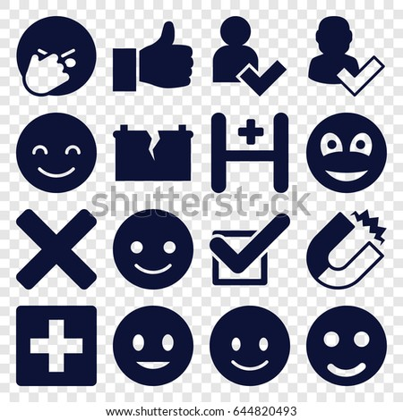 Positive icons set. set of 16 positive filled icons such as smiling emot, facepalm emot, hospital, tick, smiley, add user, broken battery, cross, thumbs up, magnet
