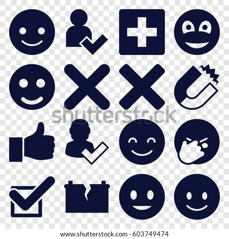 Positive icons set. set of 16 positive filled icons such as smiling emot, facepalm emot, tick, cross, smiley, add user, broken battery, thumbs up, magnet, user and tick, plus