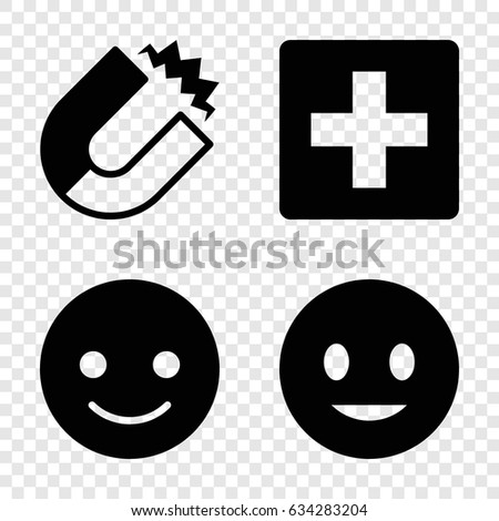 Positive icons set. set of 4 positive filled icons such as smiling emot, magnet