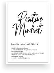 Positive mindset definition, vector. Minimalist poster design. Wall decals, positive mindset noun description. Wording Design isolated on white background, lettering. Wall art artwork. Modern poster