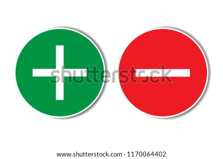 Positive negative plus minus assessment red green buttons with shadow. Simple concept pros cons list, advantages disadvantages in business planning. Vector illustration.