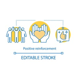 Positive reinforcement concept icon. Giving praise idea thin line illustration. Positive feedback. Friendliness. Employee satisfaction. Vector isolated outline drawing. Editable stroke