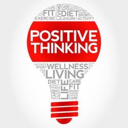 Positive thinking bulb word cloud, health concept