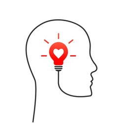 Positive thinking concept with profile and head line. Lightbulb with heart shape as inspiration and vision symbol.