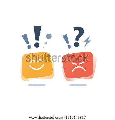 Positive thinking, negative emotion, bad experience, good feedback, happy or unhappy customer, poor service quality, attitude concept, opinion poll sociology, vector icon, flat illustration