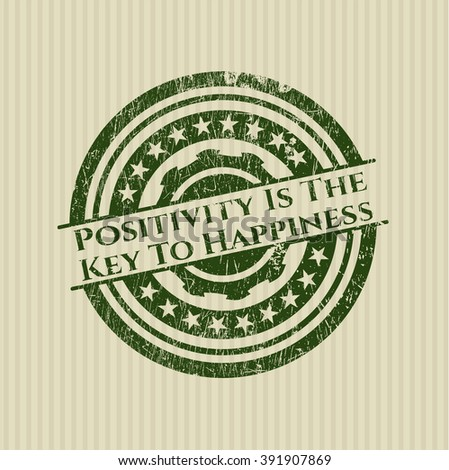Positivity Is The Key To Happiness rubber grunge texture stamp