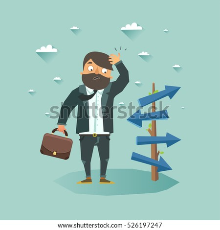 Possibilities for business concept. Businessman staying front of crossroad and selecting the best solution. Vector colorful flat illustration