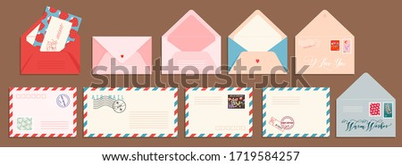 Post card and envelope set. Isolated hand-drawn postal cards and envelopes with post stamps. Modern collection of love and friendship letter designs. Vector illustrations for web and print.