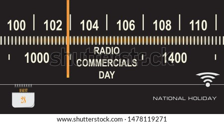 Post card for date Radio Commercials Day. Holiday dates in August.