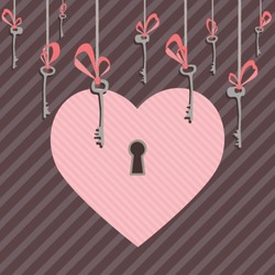 Post card with large pink heart with a keyhole and key