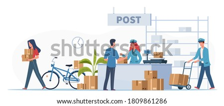 Post delivery office. Postmen, courier with truck and people with boxes and letters in post reception, order receiving or parcel, mail service postage stamp envelopes vector flat cartoon illustration