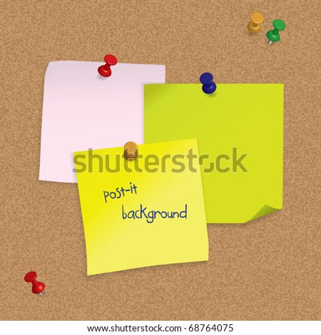 Post-it notes with 3D pushpins on cork board