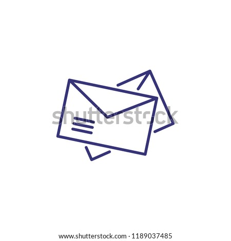 Post line icon. Envelopes, messages, letters. newsletters. Office concept. Can be used for topics like mailing, email box, app, messenger, postal service, correspondence