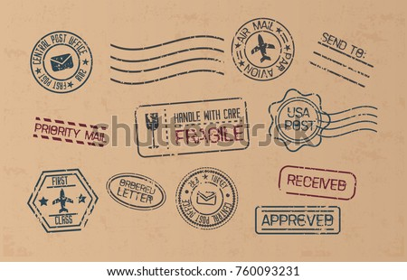 Post marks set on craft paper Background. Set of Blank Postage Stamps. Vector illustration