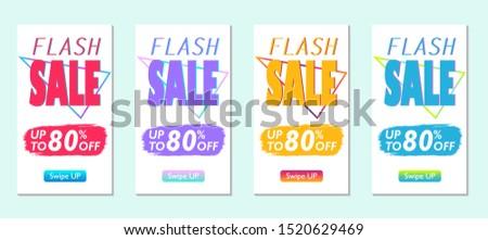 Post modern mobile banners for sale. Sale banner template design, flash sale special offer set. Vector illustration set.
