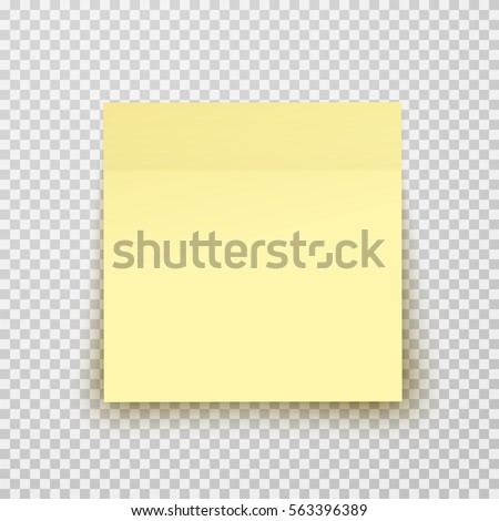 Post note paper sheet or sticky sticker with shadow isolated on a transparent background. Vector yellow post office memo or remember notepaper for your design.