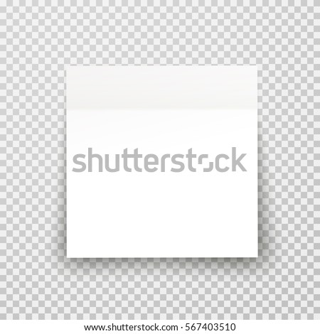 Post note paper sheet or sticky sticker with shadow isolated on a transparent background. Vector white post office memo or remember notepaper for your design.