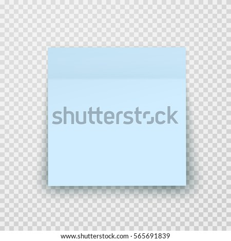 Post note paper sheet or sticky sticker with shadow isolated on transparent background. Vector blue office memo template.