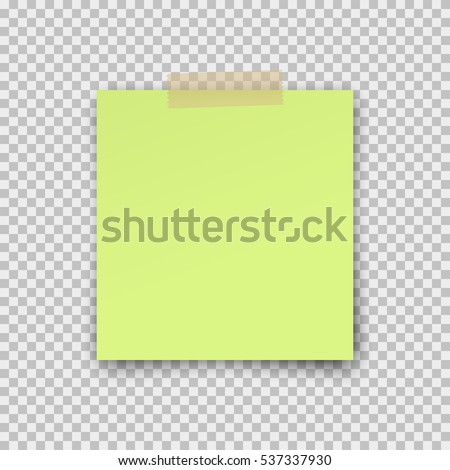 Post note paper sticker isolated on transparent background. Vector green office memo pin on translucent sticky tape with shadow.