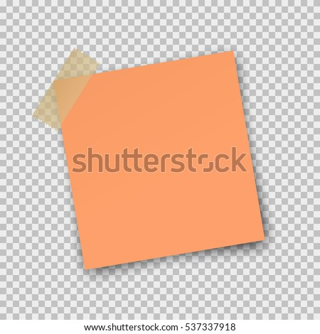 Post note paper sticker pin on translucent sticky tape with shadow isolated on transparent background. Vector orange post sheet for your design.