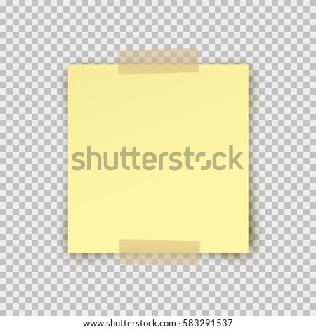 Post note paper sticker pin on translucent sticky tape with shadow isolated on transparent background. Vector yellow post sheet for your design.