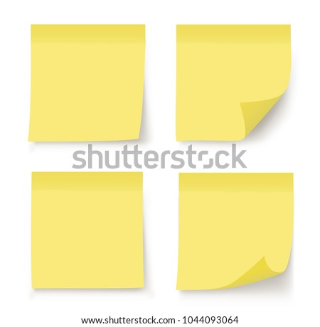 Post note sticker. Paper sticker on white background. Vector illustration