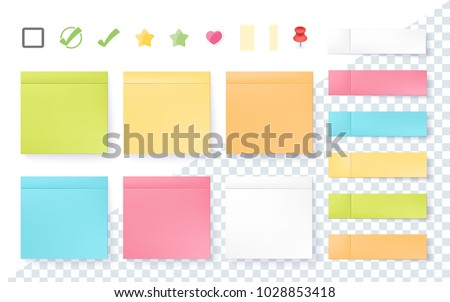 post note sticker set isolated