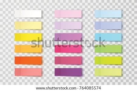 Post note stickers isolated on transparent background. Vector color sticky tapes with shadow template.
