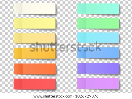 Post note sticky stickers with peel off corner isolated on a transparent background. Paper adhesive tape with shadow. Vector office color post stickers for your design