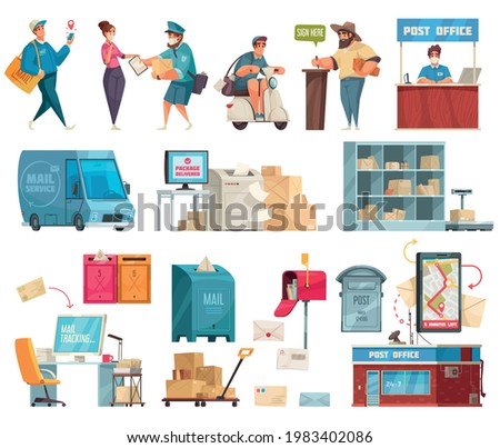 Post office cartoon set with postal delivery van postman motorcycle courier parcels mailbox letterbox vector illustration