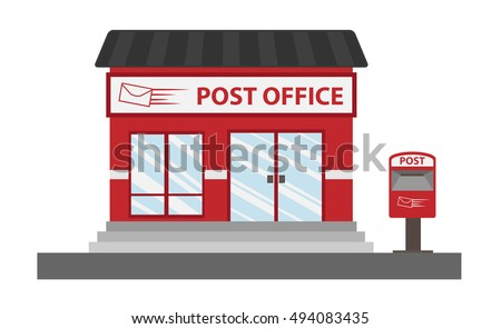 Post office cartoon style vector , isolated on white background